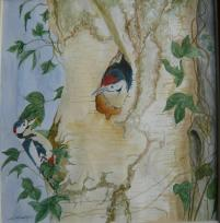 Painting of Woodpeckers